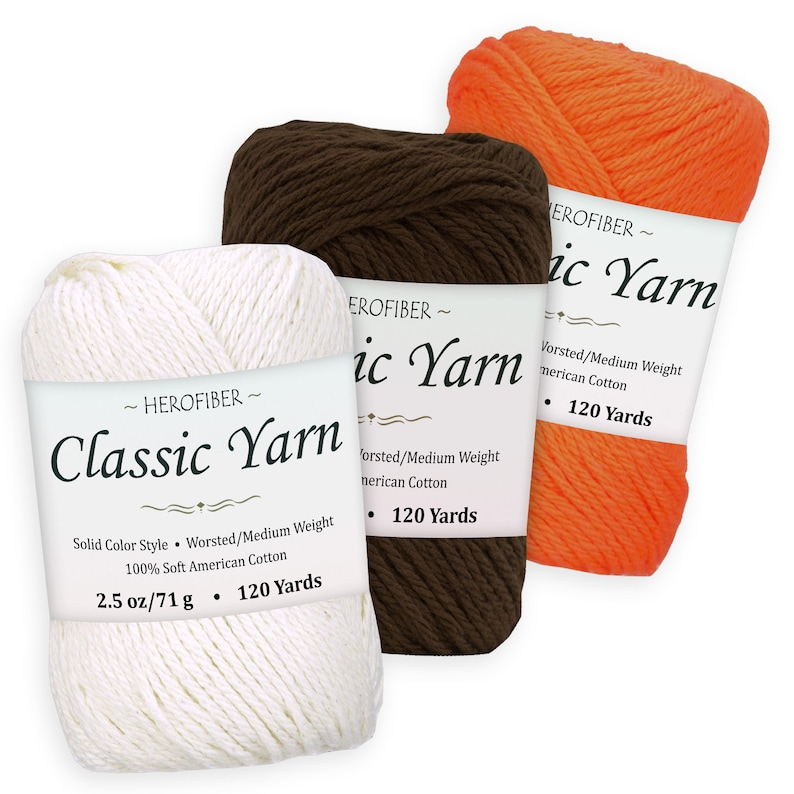 WorstedMedium Weight | Coconut White Assortment for Knitting 3 Solid Colors 2.5 oz Each Crochet, Orange Brown Cotton Yarn