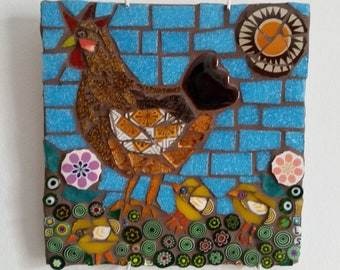 hen with chicks mosaic