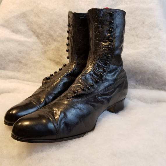 Black Steampunk Victorian Edwardian Historical Period Womans Costume Boots 7 8 9