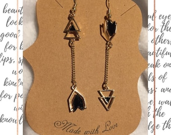 Black Gold Asymmetrical Arrow Earrings