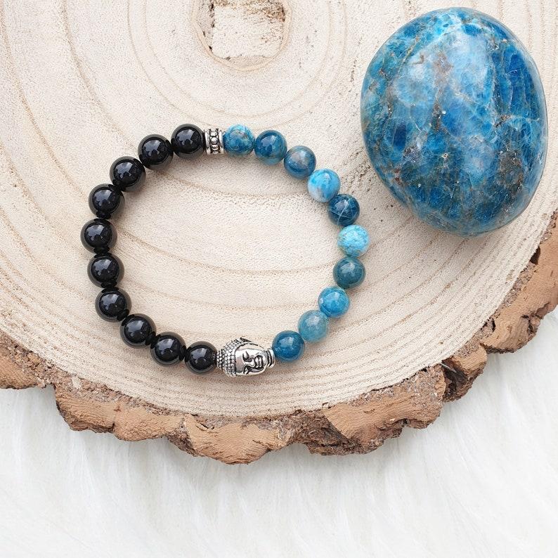 choose from amazonite apatite or lepidolite smokey quartz Gemstone Buddha mala stretch bracelet garnet yoga bracelet amethyst