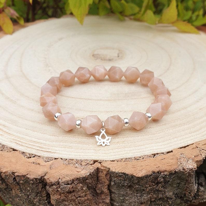 Peach Moonstone stretch gemstone bracelet mala bracelet sterling silver yoga bracelet 10mm star cut beads women/'s bracelet