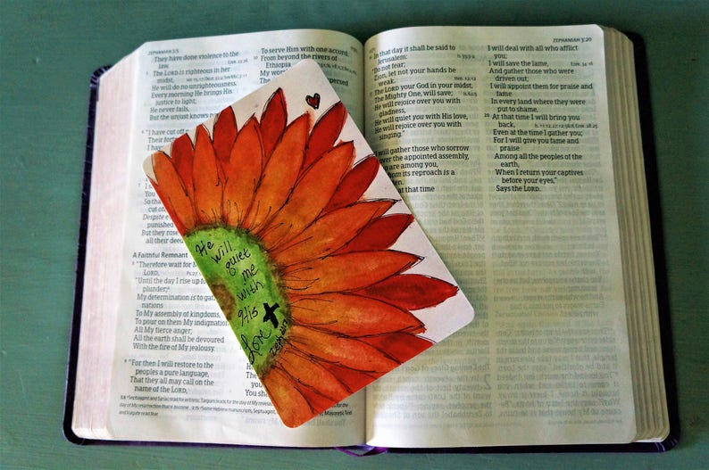 Original Hand Painted Journal Cards Red Flower -