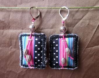 Multicolored striped fabric earrings