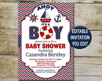 Nautical baby shower invitation etsy nautical baby shower invitation editable invite ahoy its a boy baby shower navy blue red nautical shower invite instant download p92 filmwisefo