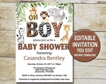 jungle animal baby shower invitation template editable you etsy