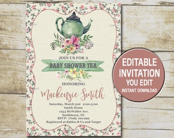 Tea party baby shower invitation etsy tea party baby shower invitation template editable you edit floral baby shower tea party vintage baby shower instant download p89 filmwisefo