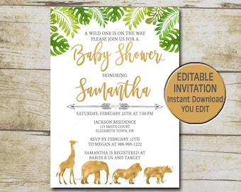 Safari baby shower etsy jungle animal baby shower invitation template editable you edit gold safari baby shower greenery safari baby shower instant download p33 filmwisefo