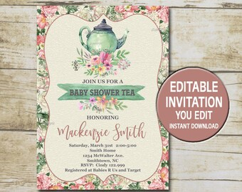 Tea party baby shower invitation etsy baby shower tea party invitation template editable you edit floral baby shower tea party shabby chic baby shower instant download p89 filmwisefo