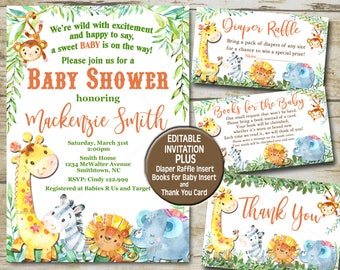 Safari baby shower invitation etsy neutral safari baby shower invitation set editable invite template book for baby diaper raffle thank you jungle animals baby shower p38 filmwisefo
