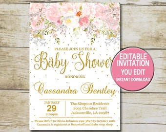 Girl Baby Shower Invitations Etsy