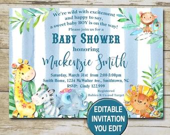 Safari baby shower invitation etsy safari baby shower invitation editable invitation you edit jungle baby shower invitation blue boy baby shower invite instant download p36 filmwisefo