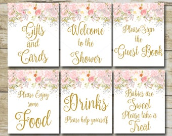Girl Elephant Baby Shower Signs 7 Printable Table Signs Pink Etsy
