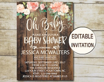 Rustic baby shower etsy rustic baby shower invitation editable invitation oh baby shower invite girl baby shower peach floral watercolor flowers p26 filmwisefo