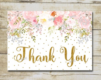 pink gold baby shower thank you card printable gold glitter baby shower pink floral girl baby shower thank you instant download p55