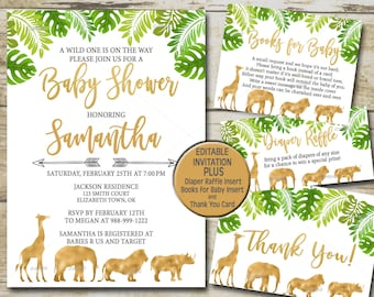 Safari baby shower invitation etsy gold safari baby shower invitation kit editable invite template book for baby diaper raffle thank you greenery jungle baby shower p33 filmwisefo