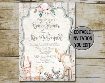 Boho Woodland Baby Shower Invitation template, Vintage Editable invite, You Edit, Rustic invite, forest animals, girl INSTANT DOWNLOAD P91