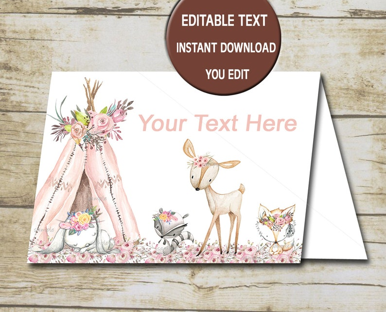 INSTANT  P72 Buffet Labels Printable Editable Tent Cards Woodland Food Cards Girl Woodland Baby Shower Food tent card Baby Shower
