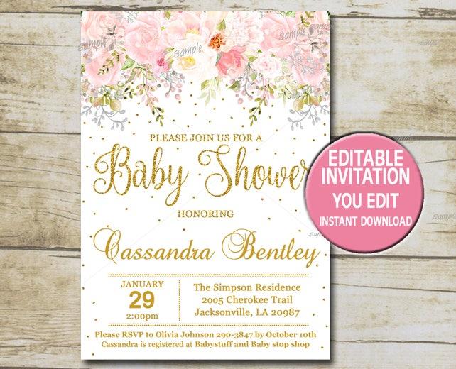 Gold baby shower invitation template editable girl baby etsy image 0 filmwisefo