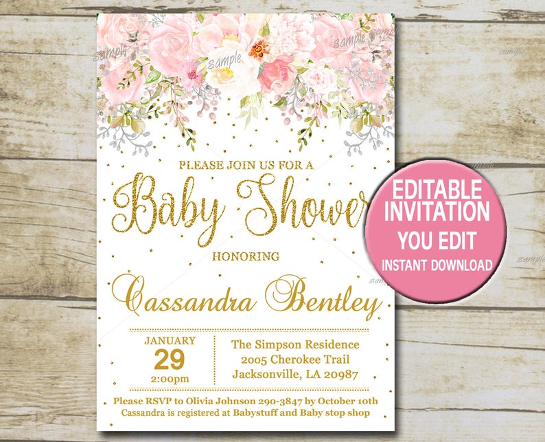 Gold Baby Shower Invitation Template Editable Girl Baby Etsy
