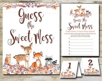 Woodland Baby Shower game Guess the Sweet Mess, Forest woodland animals Baby Shower Game - Forest Animals Baby Shower, INSTANT DOWNLOAD  P01