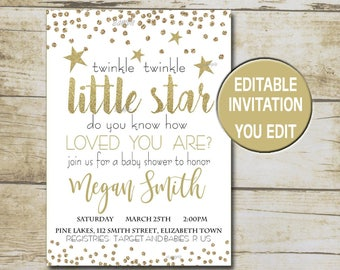 Twinkle Twinkle Little Star Baby Shower Invitation, Gold Glitter Neutral Baby Shower, Editable invitation template,  INSTANT DOWNLOAD P66