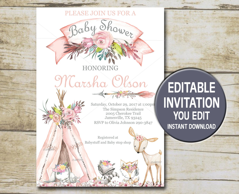 Girl Woodland Baby Shower Invitation Template Editable Etsy