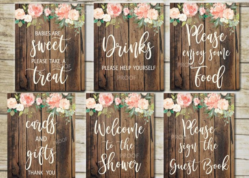 Rustic Baby Shower Signs 6 Printable Rustic Table Signs Etsy