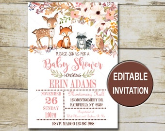 Floral Woodland Animals Baby Shower Invitation, Editable Baby shower template Girl Printable invite forest animals , INSTANT DOWNLOAD P01