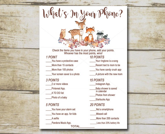 Whats On Your Phone Woodland Creatures Forest Baby Shower Game