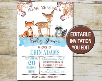Blue Boy Woodland Baby Shower Invitation, Editable Baby shower template, You Edit Printable invite forest animals , INSTANT DOWNLOAD P01
