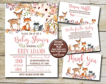 Floral Woodland Animals Baby Shower Invitation kit, Girl Editable invite template Book for Baby, Diaper Raffle & Thank You suite  P01