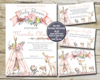Girl Woodland Animals Baby Shower Invitation kit, Pink Boho Teepee Editable invite template Book for Baby, Diaper Raffle & Thank You set P72
