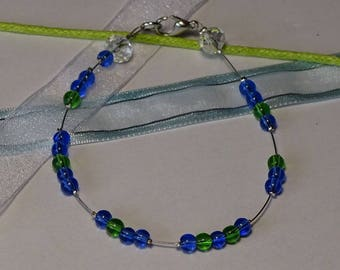 Blue green glass beaded bracelet