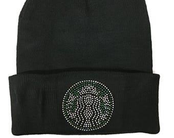 983314c3177 Starbucks coffee Rhinestone stud Bling shiny winter knit beanie Hats