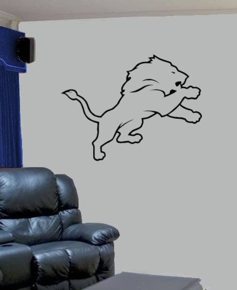 Detroit Lions 1 Vinyl Decal Car Truck Window Wall Office Home Decor Game Room Man Cave Bar Football Helmet Mural Many Sizes Colors Nfc