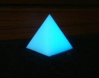 Glowing Blue Resin Pyramid Office Decor Bedroom Bathroom Accessory Paperweight etc
