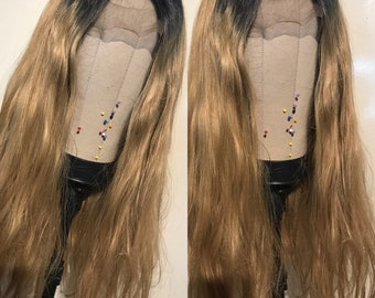 Blonde Ombre tousled lace front wig.