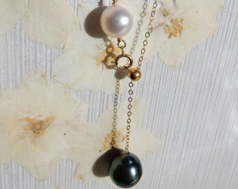 10-11mm AAA Gold filled Rolo Chain Adjustable Length Wire Work Black Pearls Tahitian Pearl and Baltic Amber Satellite Bracelet