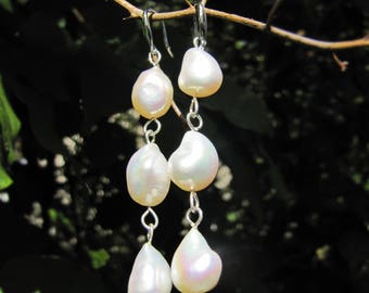 Long Dangle Pearl Earrings | 9.5mm | White Pearl | Silver Pearl Earrings | Drop Earrings | Teardrop  | Ready to ship