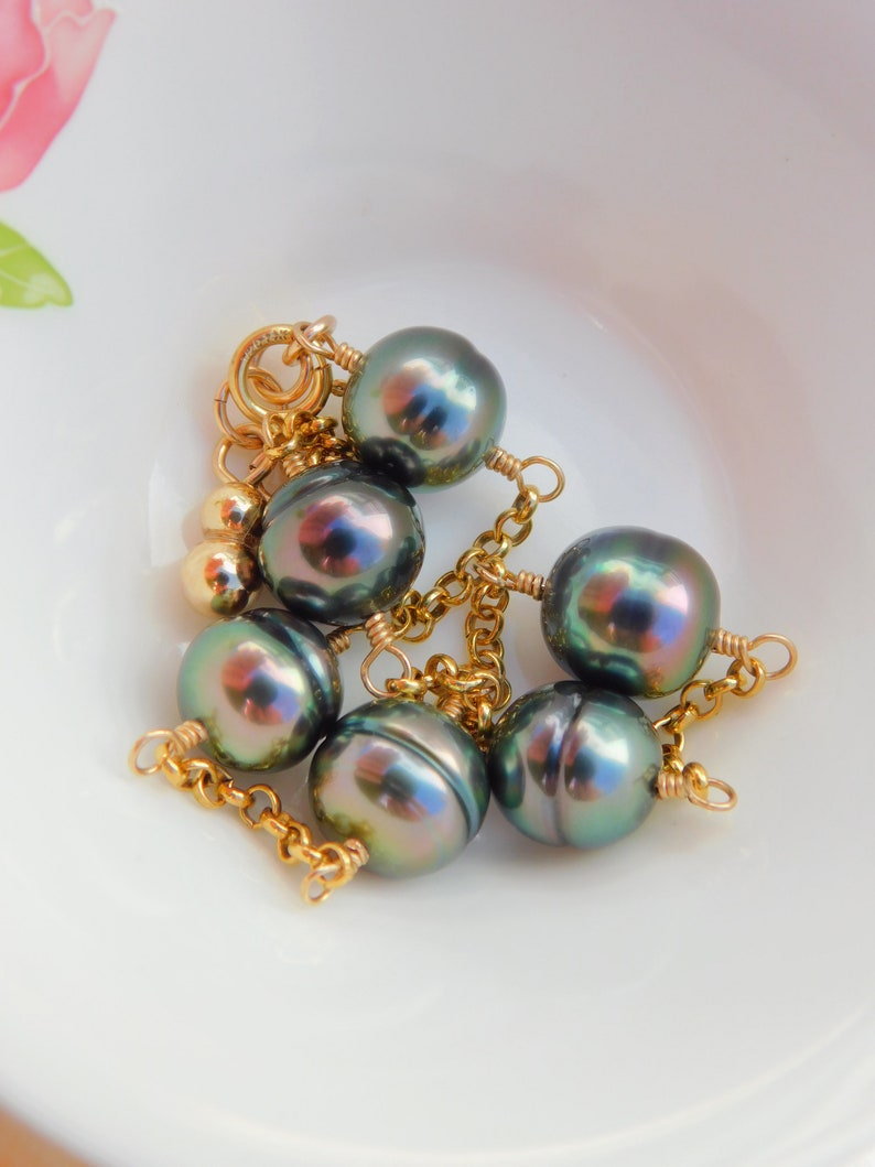 Black Pearls Peacock Adjustable Length Gold filled Rolo Chain AAA Wire Work Circled Tahitian Pearl Satellite Bracelet