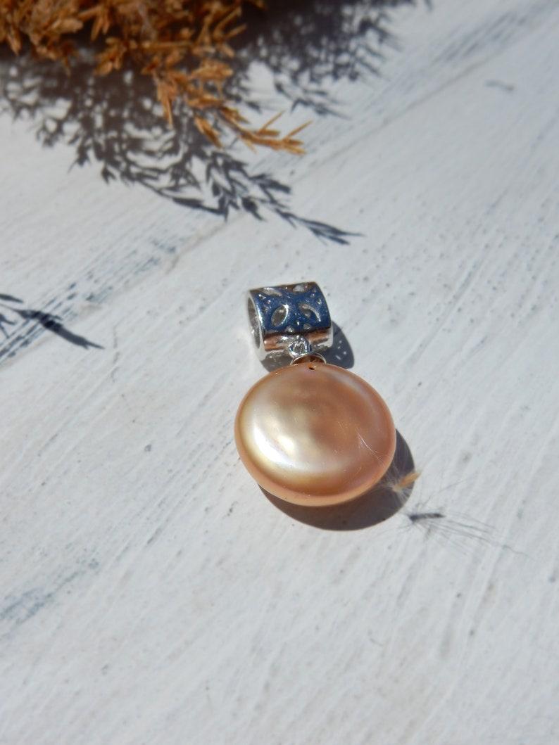 13mm Metallic Peach Single Pearl Pendant Coin Champagne Pearl Pendant Ready to Ship Silver