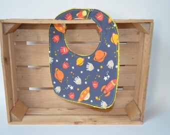 Bib with planets and rockets