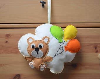 Stitchable shaped cloud with Teddy bear and balloons