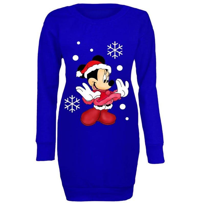 Womens Ladies Minnie Mouse Cute Christmas Festive Long Sweatshirt Mini Dress Top