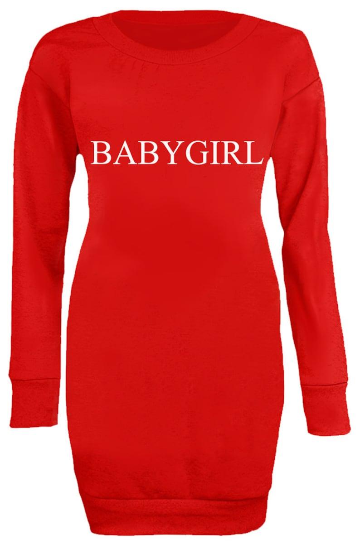 New Womens Ladies Fashion Slogan Babygirl Statement Long Jumper Mini Dress Top
