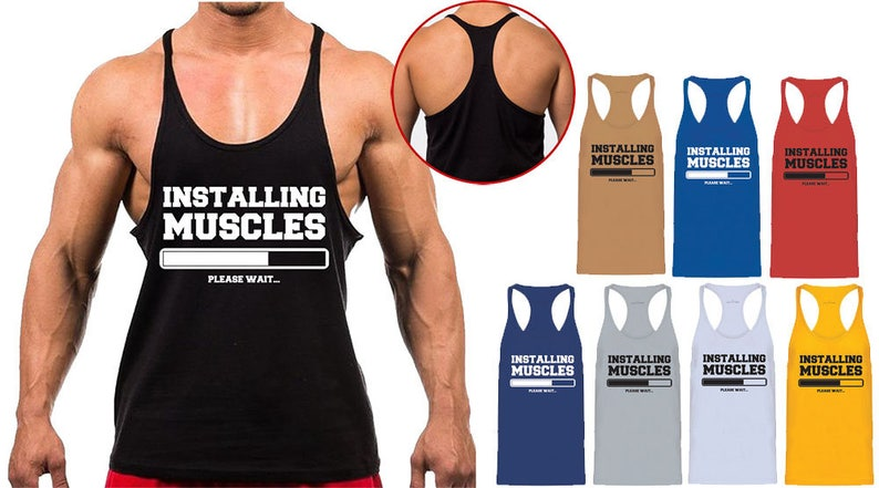f830f8f95092e6 Mens Installing Muscles Training Gym Muscle Back Stringer Vest