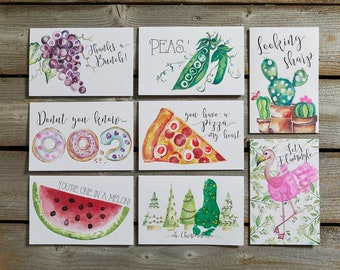 Pea Pod Card Set DIY Birthday Cards Pun Fingerpaint