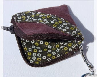 Keychain, mini kit in green and Brown fabric