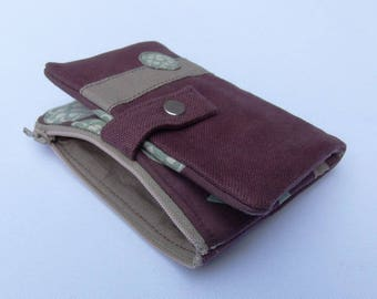 Brown and beige fabric wallet